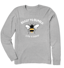 Life is Good Women's Ready To Bumble Crusher Long Sleeve, Heather Gray