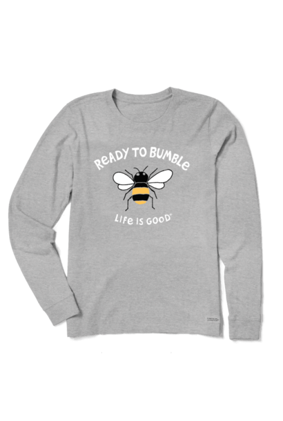 Women's Ready To Bumble Crusher Long Sleeve, Heather Gray