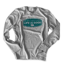 Life is Good Men's New Bern Crusher L/S Tee, Heather Gray