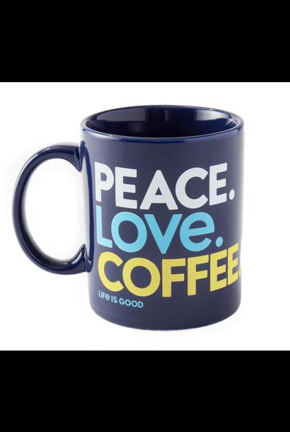 Peace. Love. Coffee. Jake's Mug, Darkest Blue