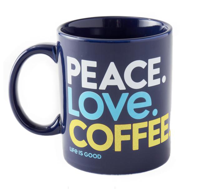 Peace. Love. Coffee. Jake's Mug, Darkest Blue-1