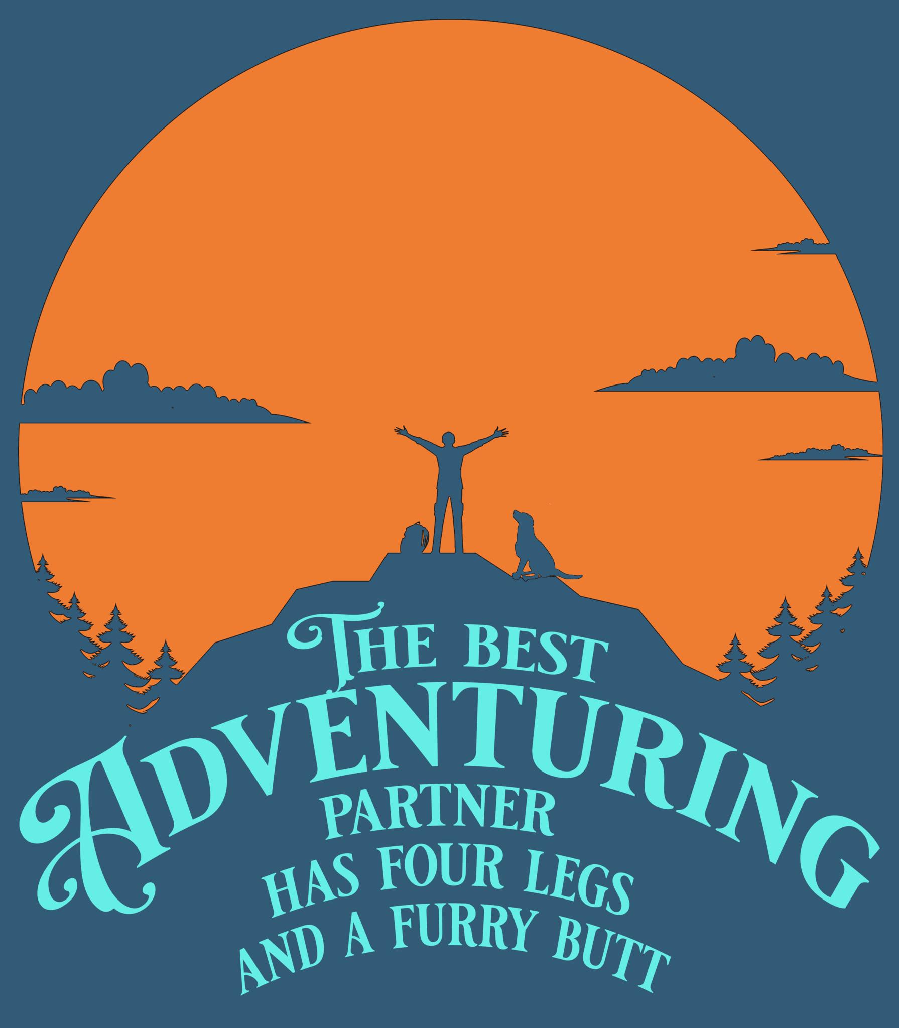 Four Legs and a Furry Butt T-shirt, Blue-2