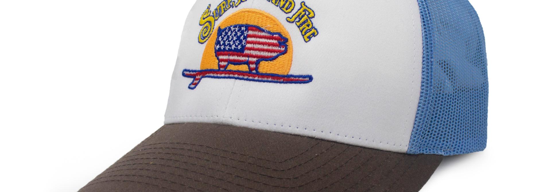 Genuine American Surfing Pig Logo Hat, Blue/Brown