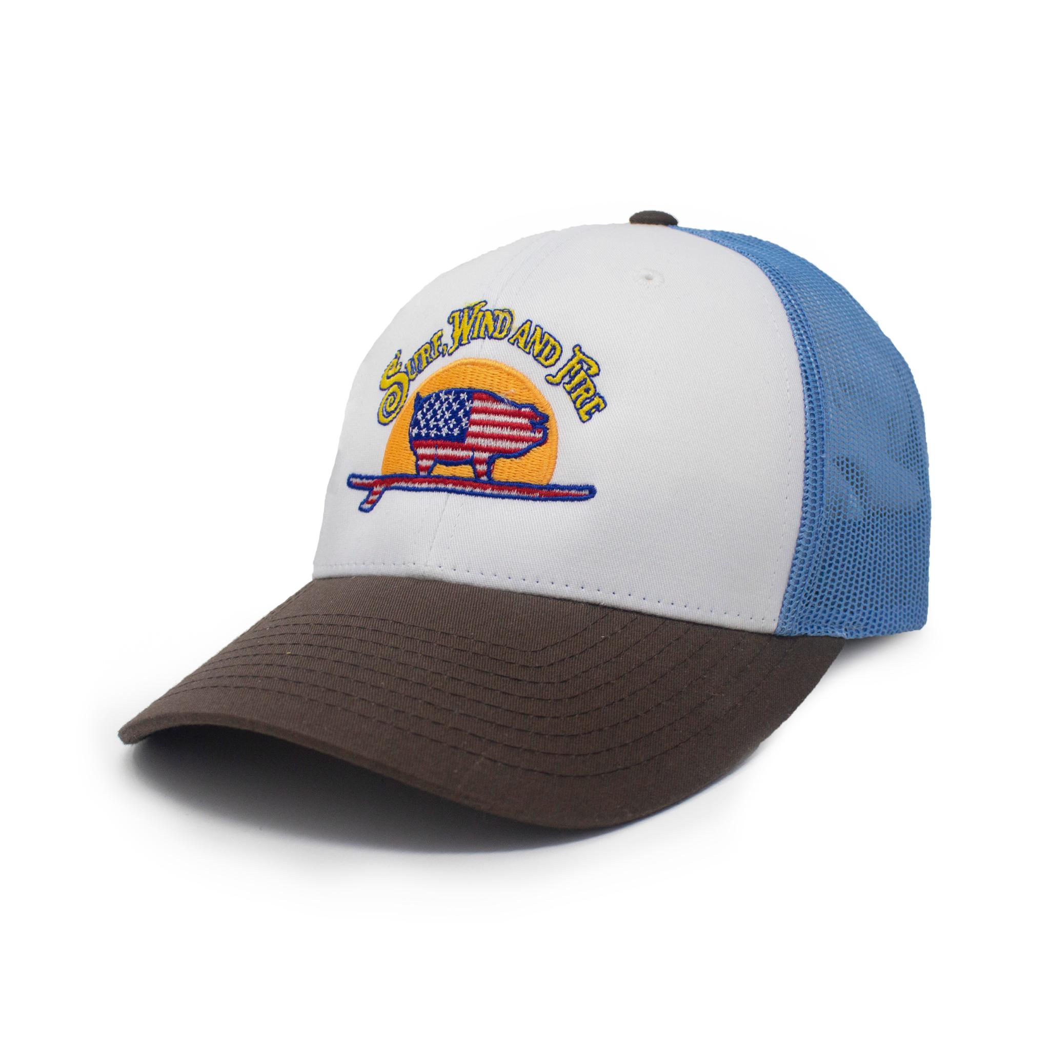 Genuine American Surfing Pig Logo Hat, Blue/Brown-1