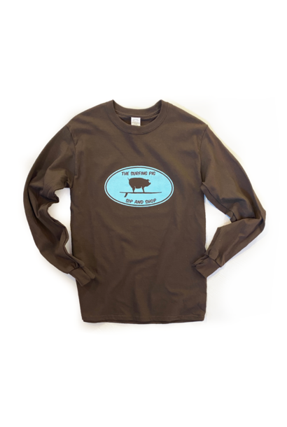 The Surfing Pig Sip and Shop L/S, Brown