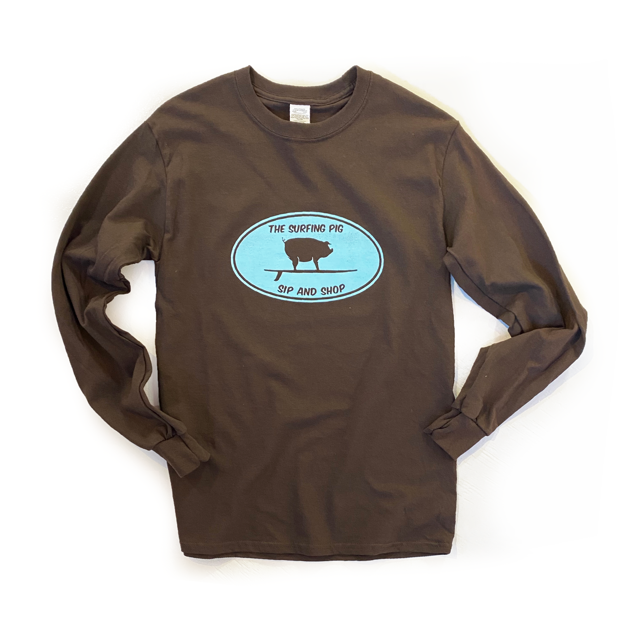 The Surfing Pig Sip and Shop Lon Sleeve, Brown-1