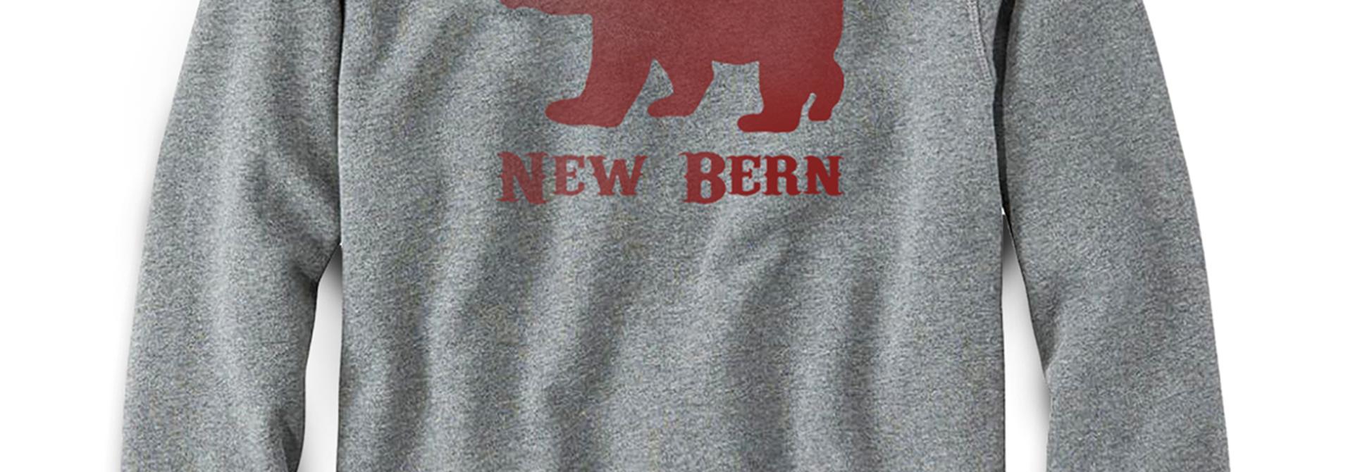 New Bern Simple Bear Crew Sweatshirt, Grey