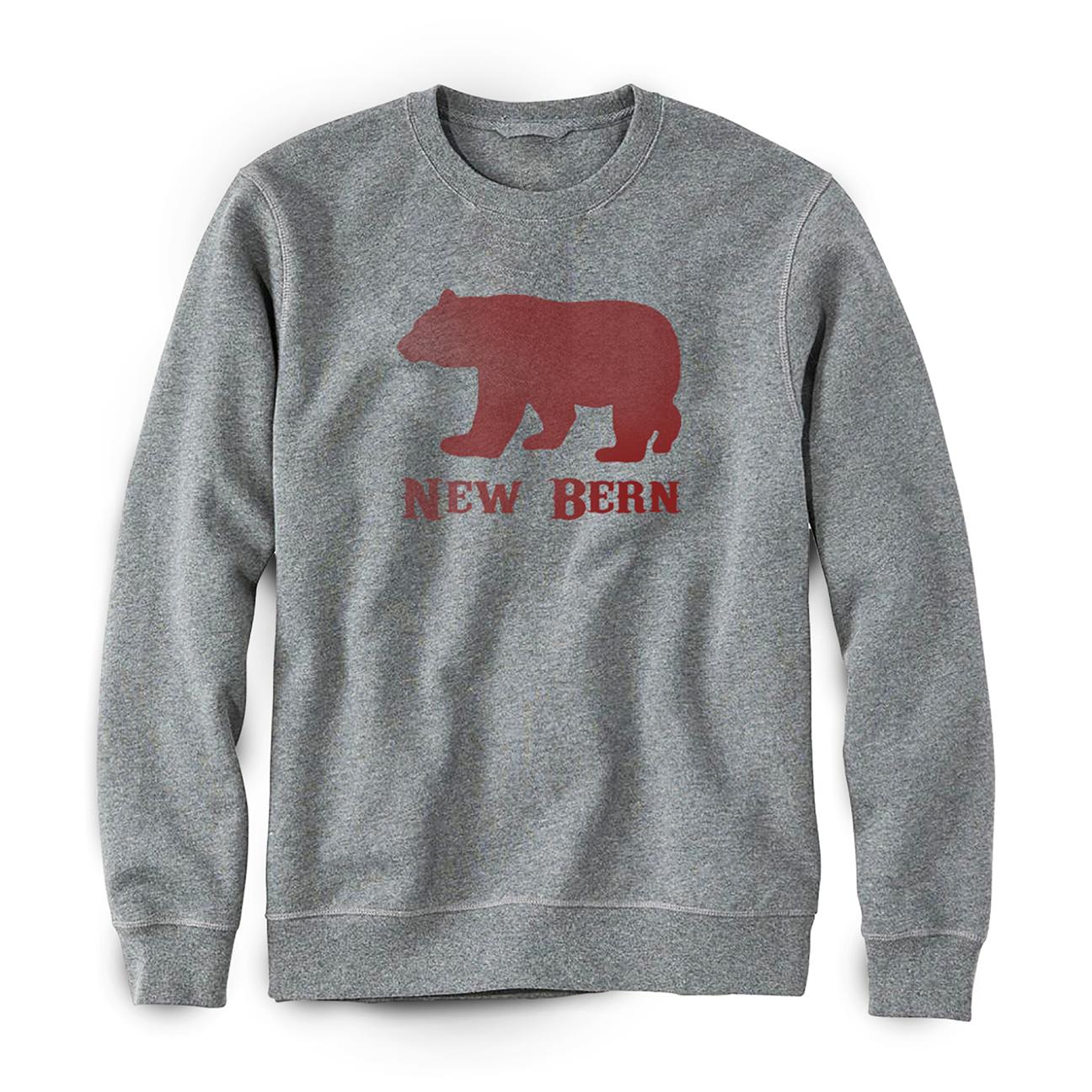 New Bern Simple Bear Crew Sweatshirt, Grey-1