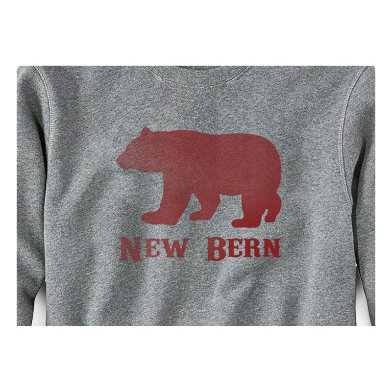 New Bern Simple Bear Crew Sweatshirt, Grey-2