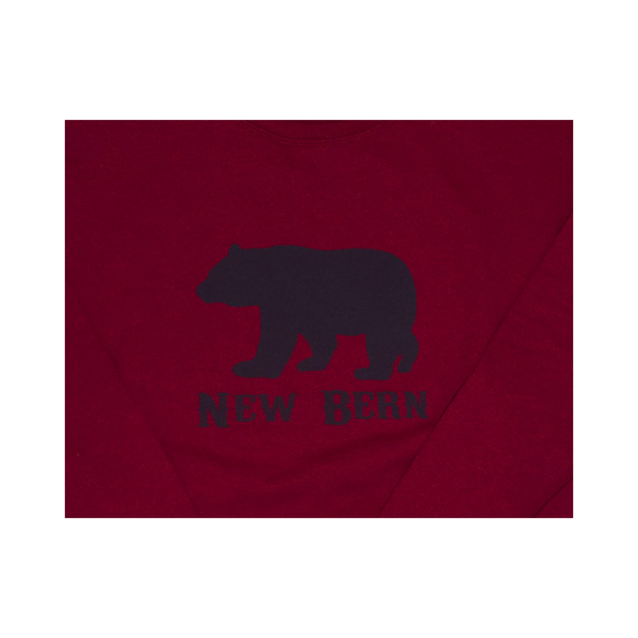 New Bern Simple Bear Crew Sweatshirt, Dark Red-2