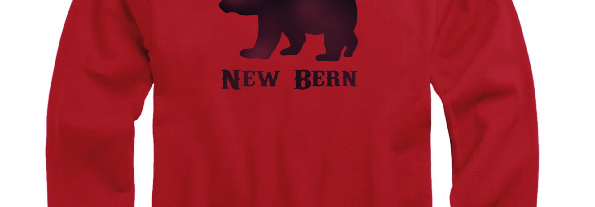 New Bern Simple Bear Crew Sweatshirt, Dark Red