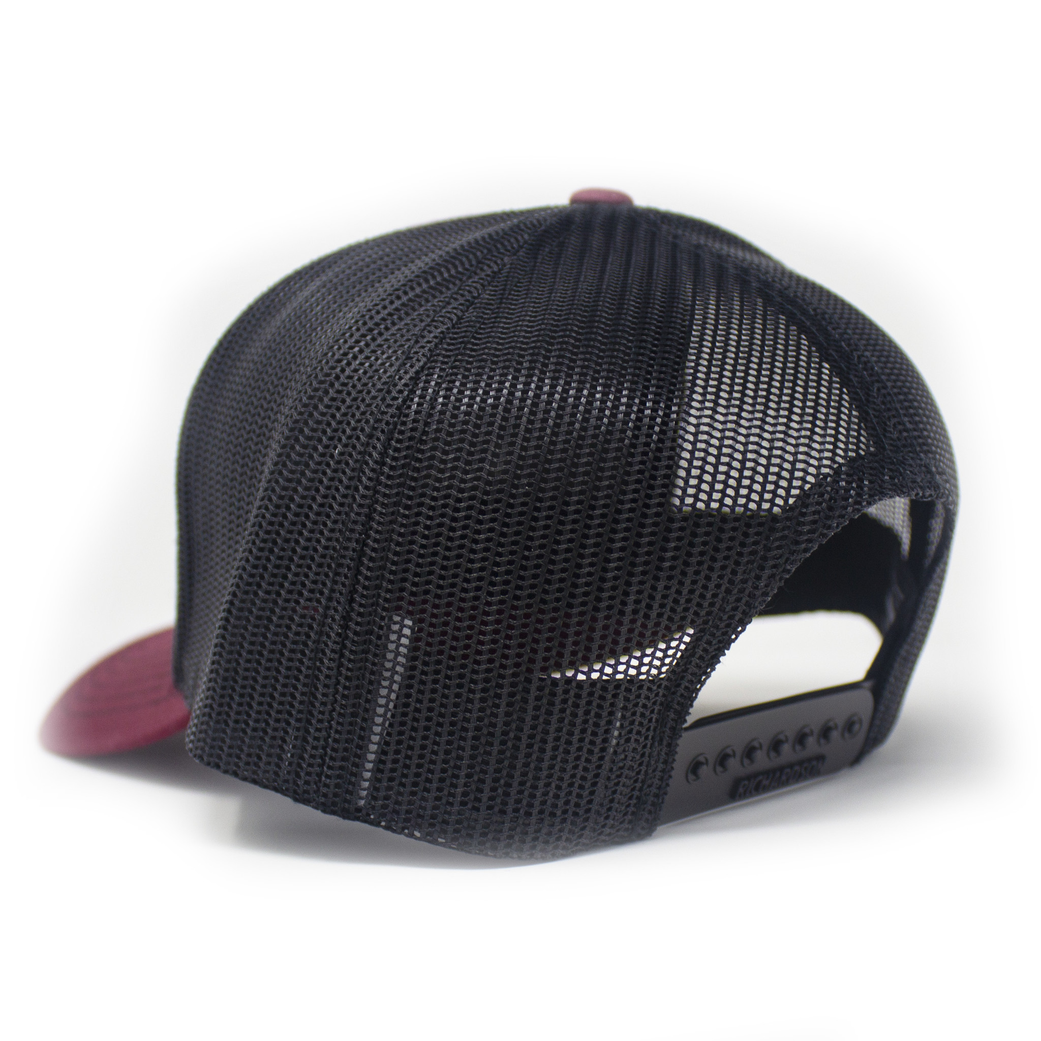 Blackbeard Leather Patch Lo Pro Trucker Hat, Cardinal and Black-2