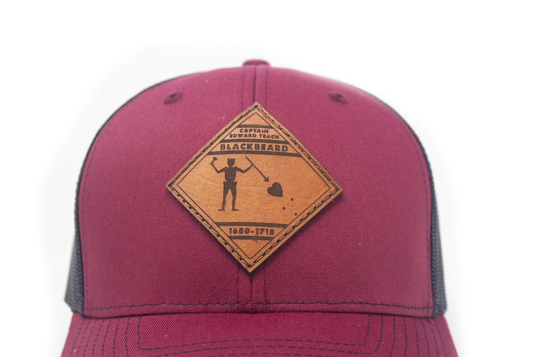Blackbeard Leather Patch Lo Pro Trucker Hat, Cardinal and Black-3