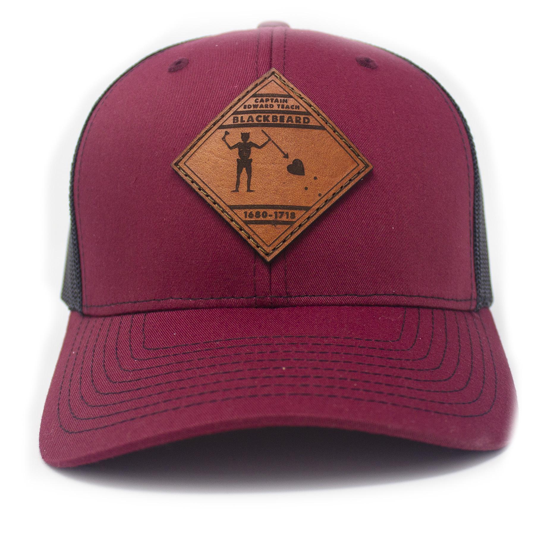 Blackbeard Leather Patch Lo Pro Trucker Hat, Cardinal and Black-4