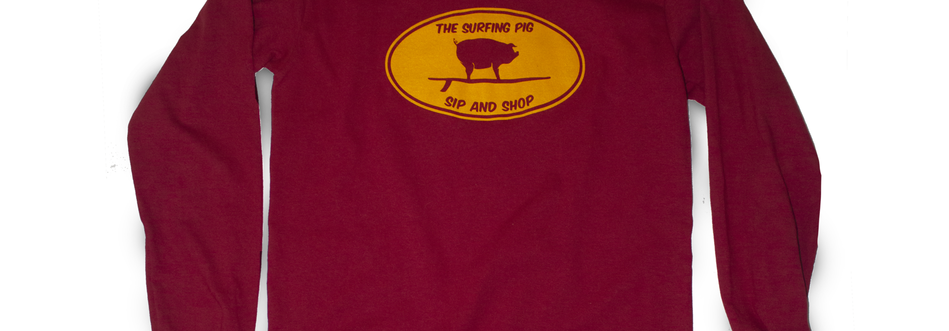 The Surfing Pig Sip and Shop Long Sleeve, Red
