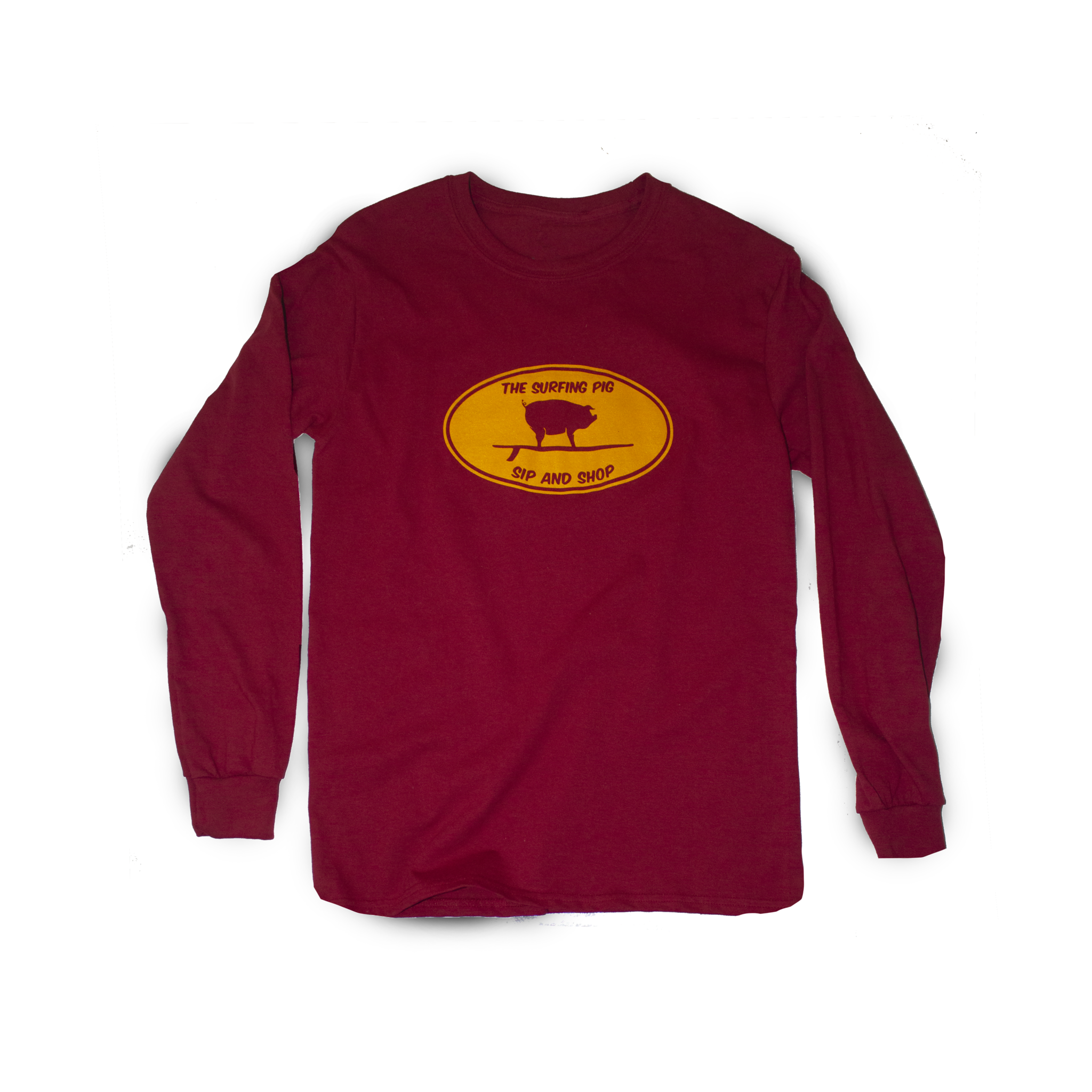 The Surfing Pig Sip and Shop Long Sleeve, Red-1