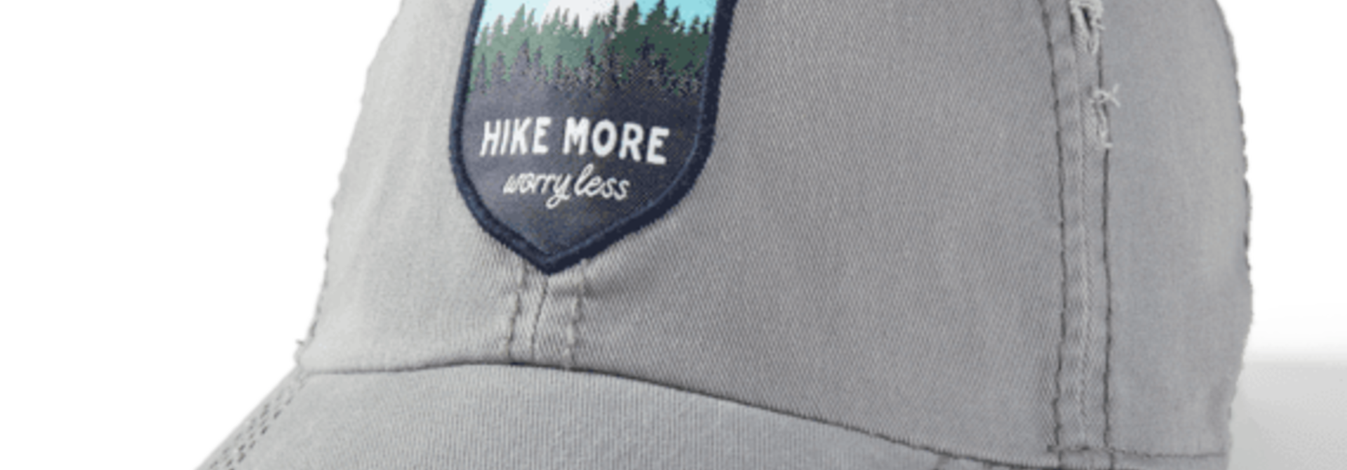 Hike More Worry Less Sunwashed Chill Cap, Slate Gray