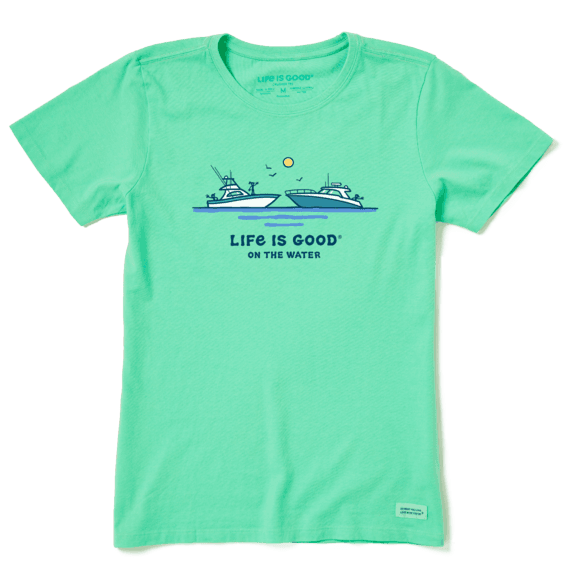 Women's Life is Good on the Water Crusher Tee, Spearmint Green-1