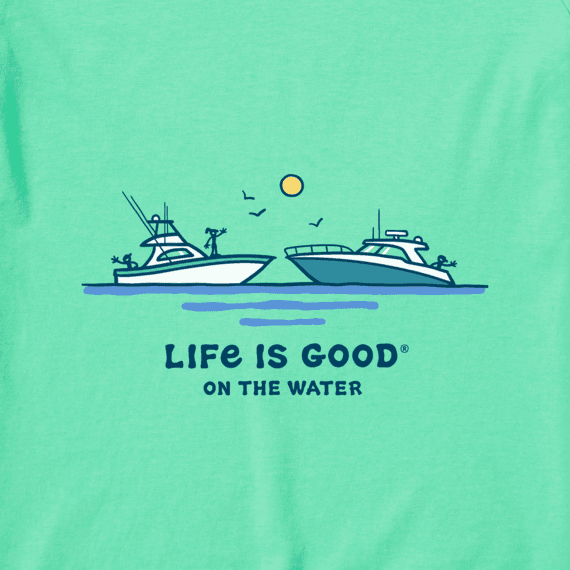 Women's Life is Good on the Water Crusher Tee, Spearmint Green-2