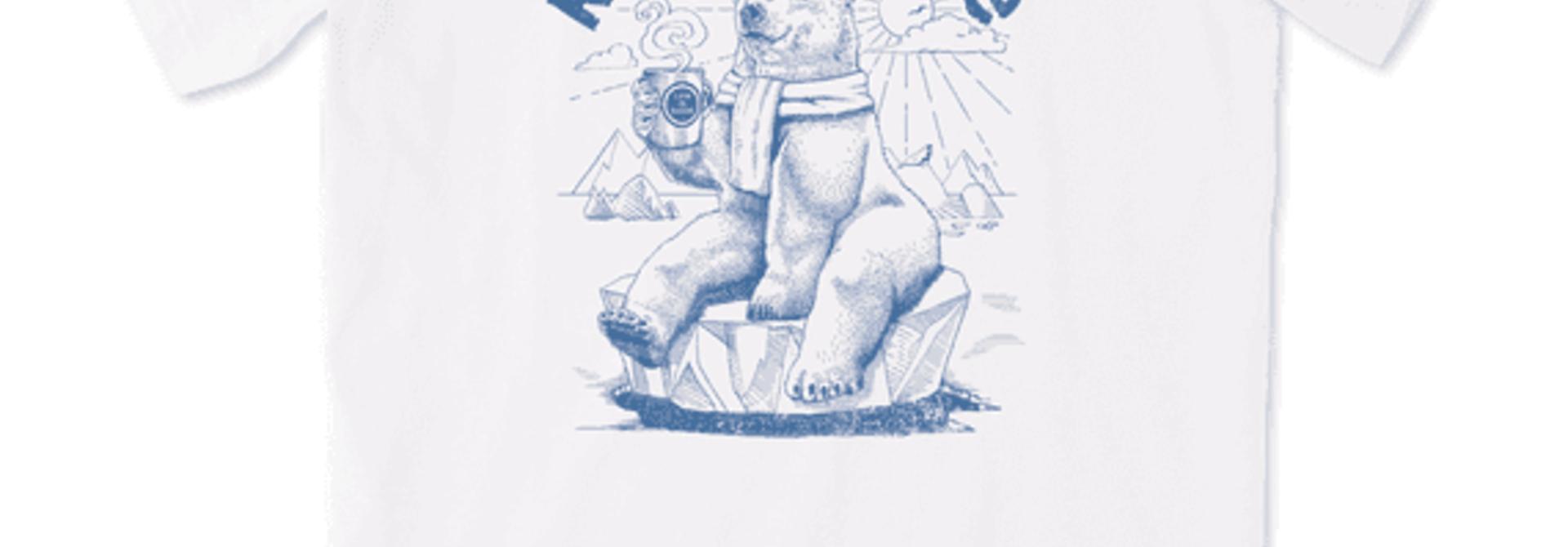Women's Rise and Shine Polar Bear Short Sleeved Tee, Cloud White