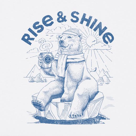 Women's Rise and Shine Polar Bear Short Sleeved Tee, Cloud White-2