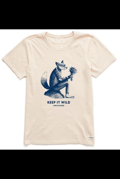 Women's Keep It Wild Fox Short Sleeved Tee, Putty White