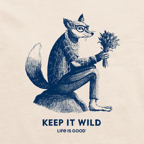Women's Keep It Wild Fox Short Sleeved Tee, Putty White-2