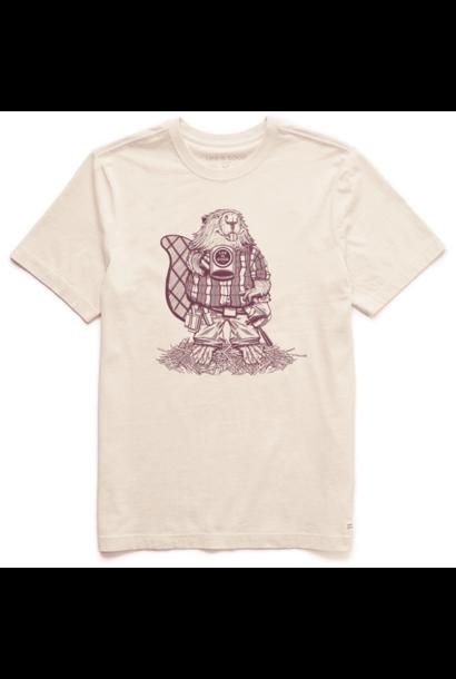 Men's Handyman Beaver Short Sleeved Shirt, Putty White