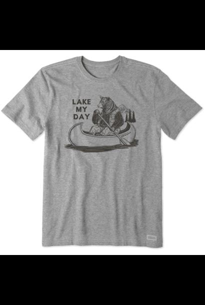 Men's Lake My Day Short Sleeved Shirt, Heather Gray