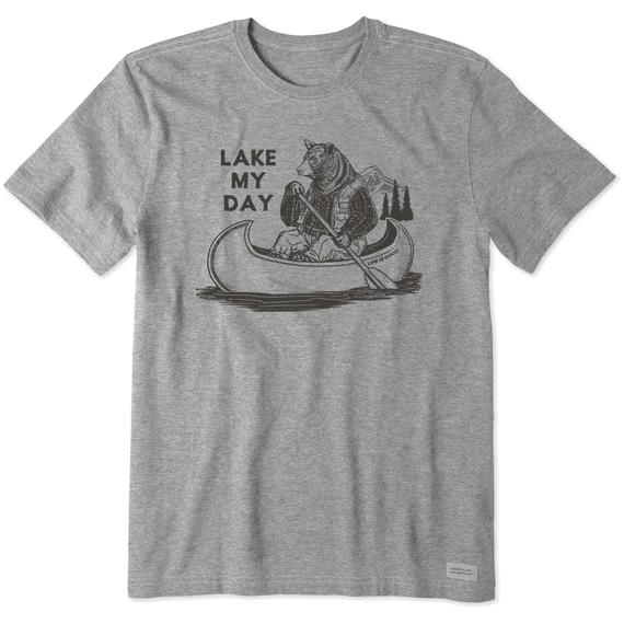Men's Lake My Day Short Sleeved Shirt, Heather Gray-1