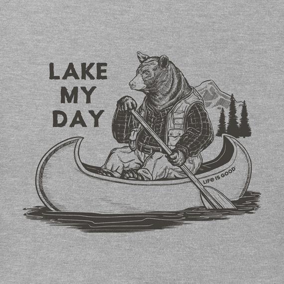 Men's Lake My Day Short Sleeved Shirt, Heather Gray-2
