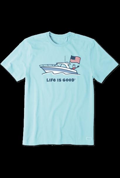M's Jake Power Boat USA Crusher Tee, Beach Blue