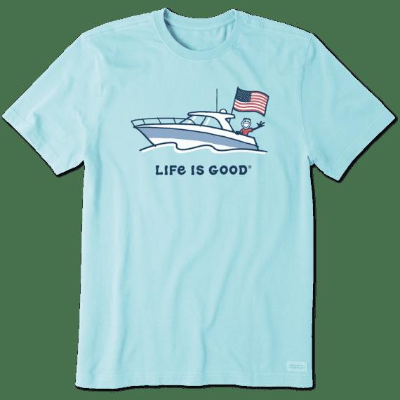 M's Jake Power Boat USA Crusher Tee, Beach Blue-1