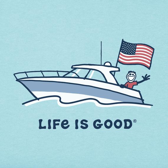 M's Jake Power Boat USA Crusher Tee, Beach Blue-2