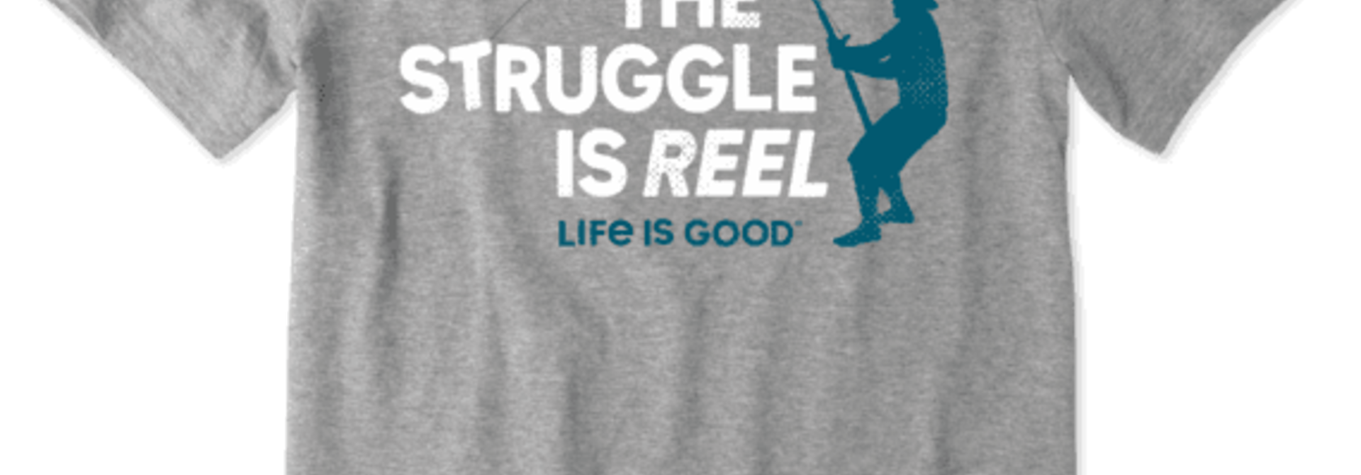M's The Struggle is Reel Crusher Tee, Heather Gray