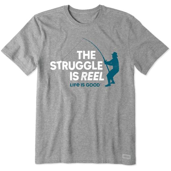 M's The Struggle is Reel Crusher Tee, Heather Gray-1