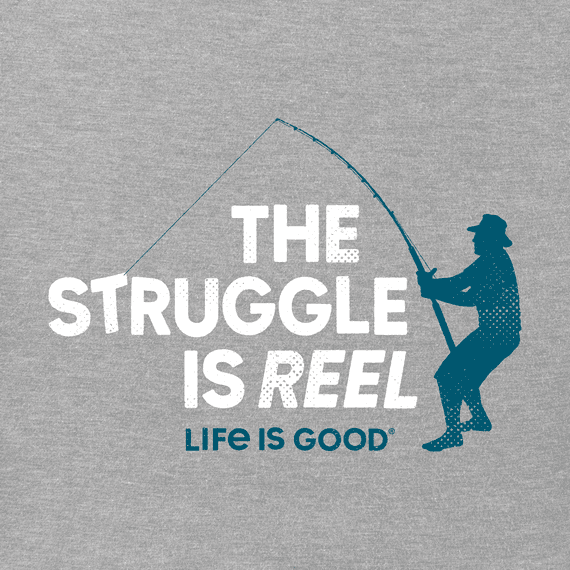 M's The Struggle is Reel Crusher Tee, Heather Gray-2