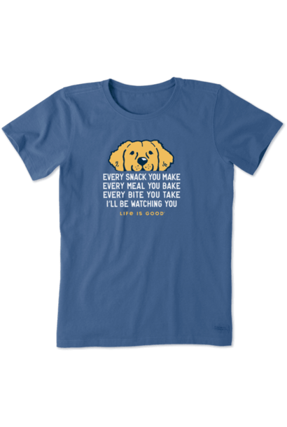 W's I'll Be Watching You Golden Retriever Crusher Tee, Vintage Blue