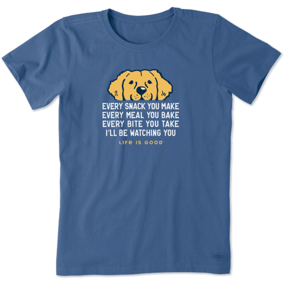 W's I'll Be Watching You Golden Retriever Crusher Tee, Vintage Blue-1