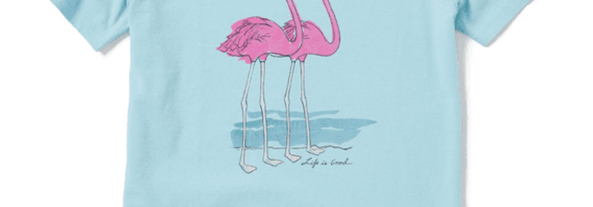W's Elegant Flamingos Short Sleeve Crusher Tee, Beach Blue