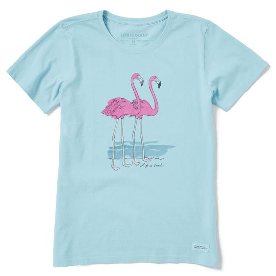 W's Elegant Flamingos Short Sleeve Crusher Tee, Beach Blue-1