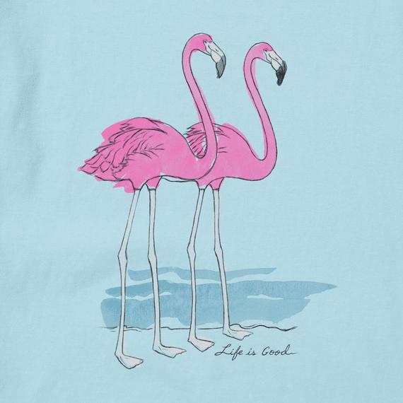 W's Elegant Flamingos Short Sleeve Crusher Tee, Beach Blue-2