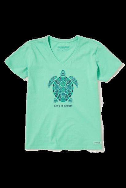 W's Turtle Mosaic Short Sleeve Crusher Vee, Spearmint Green