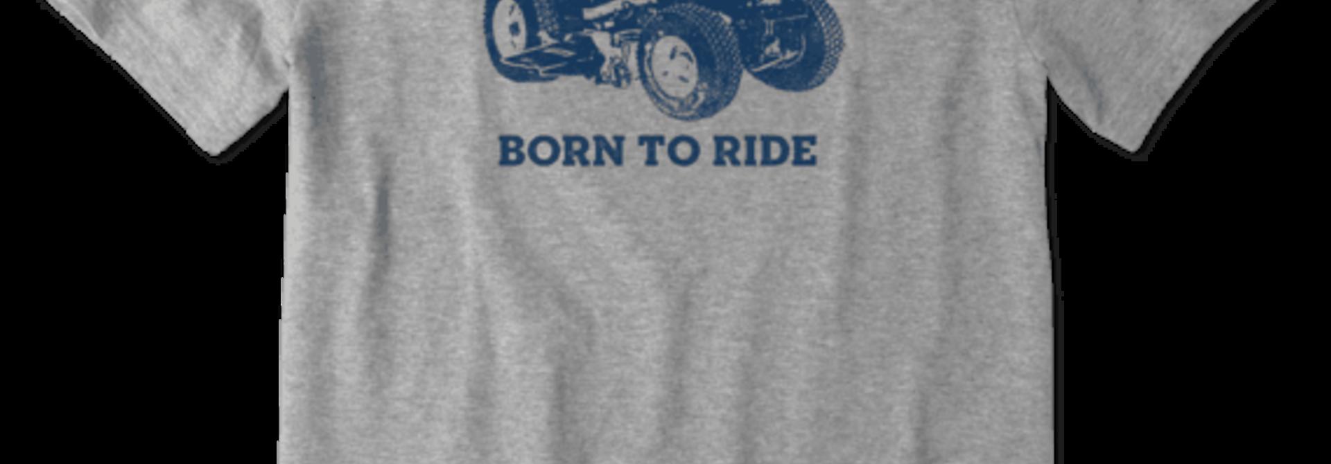 M's Born to Ride Mower Crusher Tee,  Heather Gray