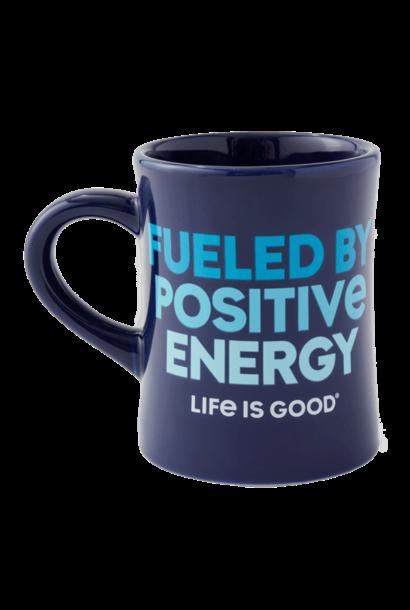 Fueled By Positive Energy Diner Mug, Darkest Blue