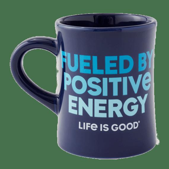 Fueled By Positive Energy Diner Mug, Darkest Blue-1