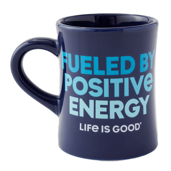 Fueled By Positive Energy Diner Mug, Darkest Blue-2