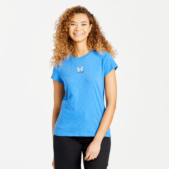 W's LIG Colorful Butterfly Textured Slub Tee, Royal Blue-1