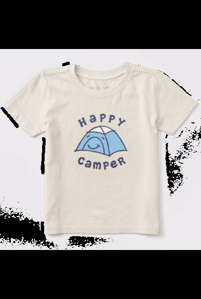 Kid's Toddler Happy Camper Vintage Crusher Tee, Putty White