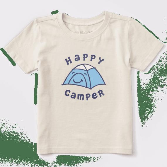 Kid's Toddler Happy Camper Vintage Crusher Tee, Putty White-1